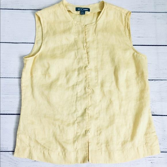 Go Silk Tops - Go Silk yellow sleeveless linen top s